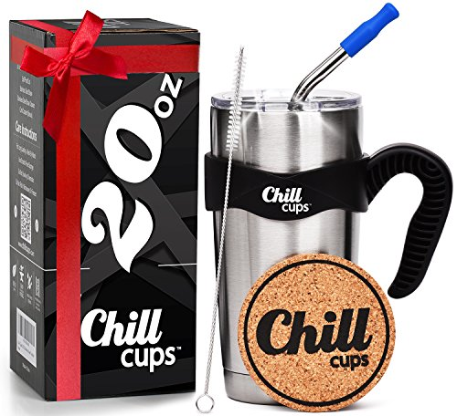 Wall Insulated Travel Mug - Insulated Travel Coffee Thermal Mug - 20 oz Double Wall Vacuum Drinking Stainless Steel Tumbler Cup with Spill Proof Lid, Handle and 8mm Straw - Silicone Tip - Free Bonus Coaster by Chill Cups