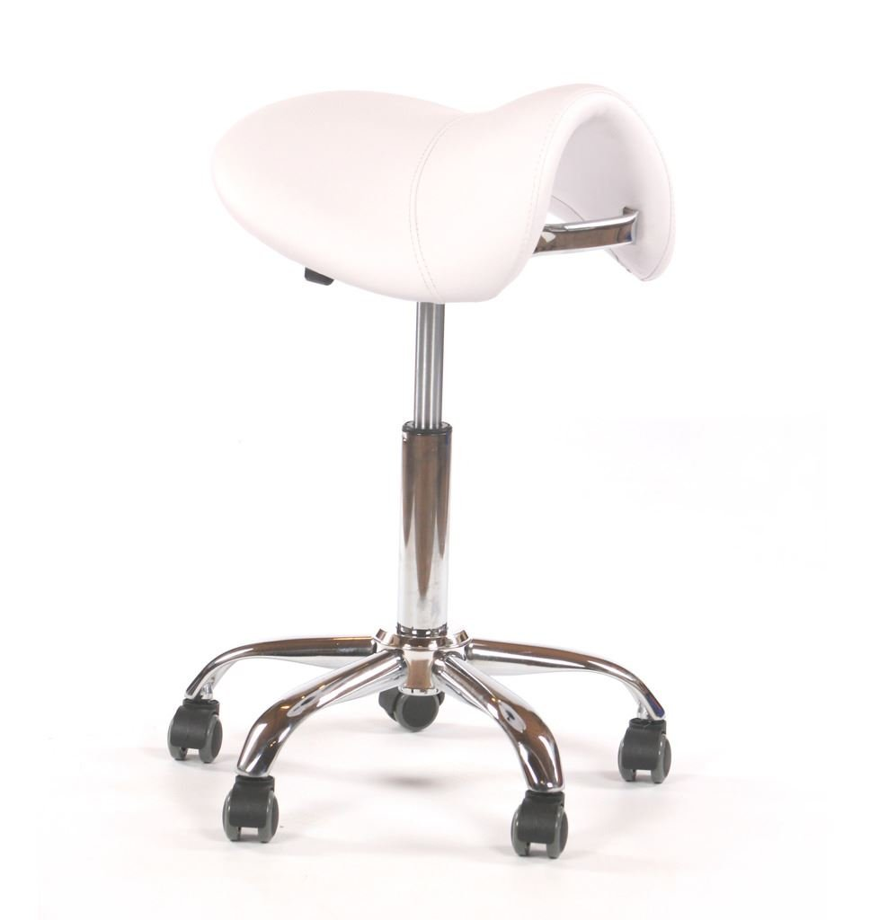 Urbanity hairdressing cutting stool beautician manicure nail salon chair white