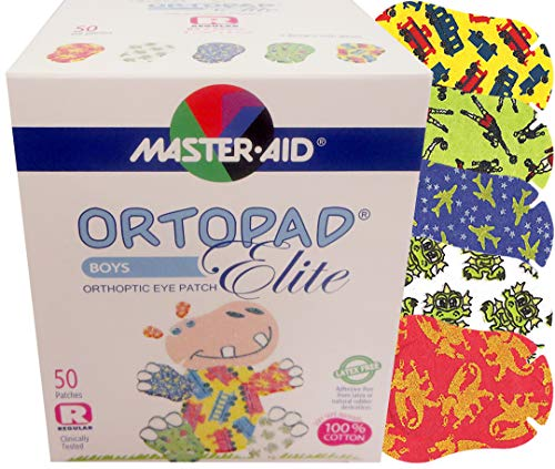 Ortopad Elite Boys Eye Patches, Glitter Accents, 50 Adhesive Patches, Regular Size, Latex and Preservative Free, for Treatment of Amblyopia