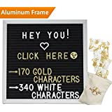 """Modern Felt Letter Board   High Quality Aluminum Frame  170 GOLD & 340 White Changeable Characters & Letters   10"""" x 10"""" Black Felt  @, #, , ♥,, ?, ♪, :), & MORE   Free Bonus Black Stand & Letter Pouch  Message Board Sign"""