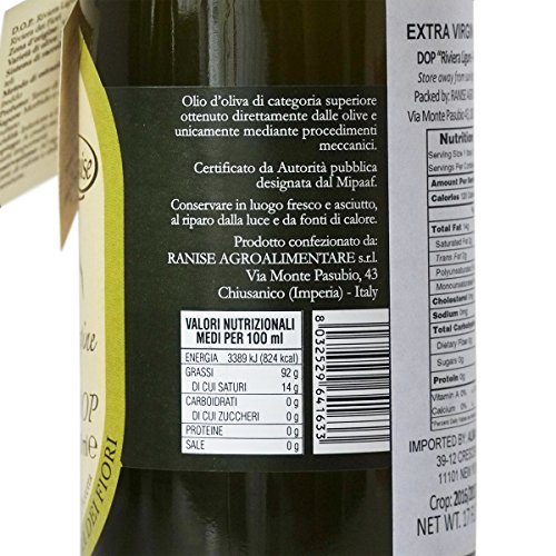 Ligurian Italian Extra Virgin Olive Oil DOP 16.9 fl oz - Pack of 2 by Ranise (Image #1)