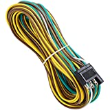SUZCO 25 Foot 4 Wire 4-Flat Trailer Light Wiring Harness Extension Kit, 4-Way Plug 4 Pin Male & Female Extension Connector & Wishbone-Style with 18 Gauge White Ground Wire with SAE J1128