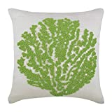 "Luxury White Pillow Shams, Beaded Green Sea Weeds Sea Creatures Ocean & Beach Theme Pillow Shams, 24""x24"" Pillow Sham, Square Cotton Linen Shams, Mediterranean Pillow Shams - Deep Sea Weeds"
