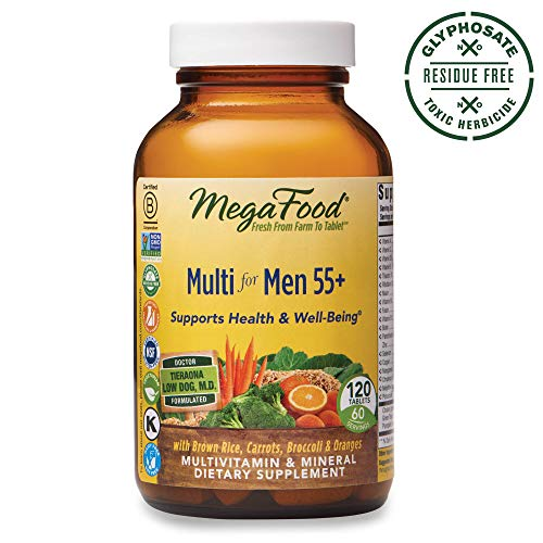 MegaFood - Multi for Men 55+, Multivitamin Support for Energy Production, Brain Function, Prostate and Heart Health with Zinc and Methylated Folate, Vegetarian, Gluten-Free, Non-GMO, 120 Tablets