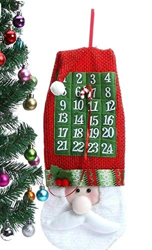 iFavor123 Santa Claus Christmas Countdown Advent Calendar with Attached Candy Cane Signal