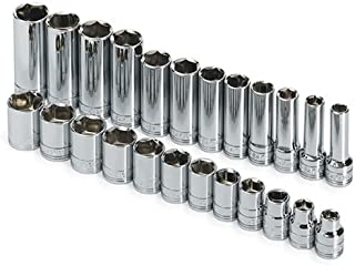 product image for SK Professional Tools 89024 24 -Piece 3/8 in. Drive 6-Point STD/Extra Deep Metric Socket Set - Chrome Socket Set with Super Chrome Finish | Set of 24 Sockets Made in USA