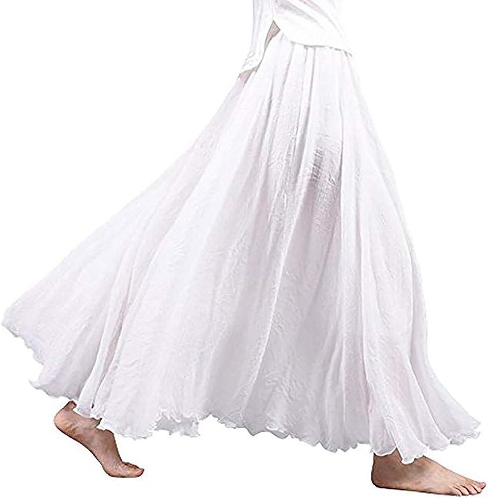 Auimank Chiffon Skirts 2019d Womens Bohemian Style Elastic Waist Band Cotton Linen Long Maxi Skirt Dress