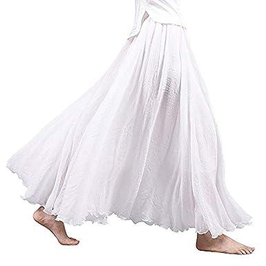 NPRADLA Vestido Estilo Bohemio con Falda Larga y Larga de algodón ...