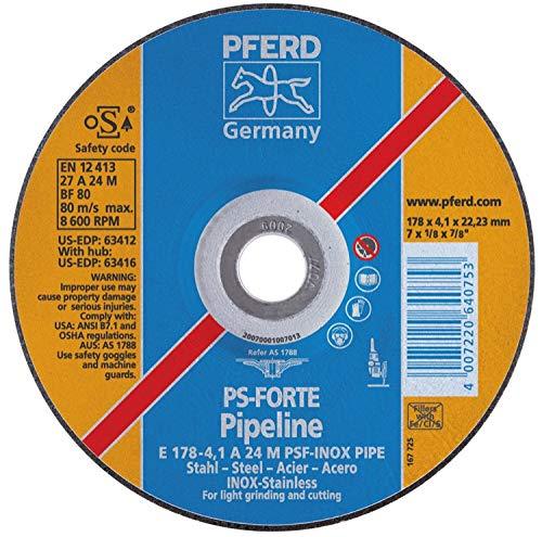 PFERD 63412 7'' x 1/8'' Pipeline Wheel 7/8'' AH A 24 M PSF-INOX-PIPE T27 (10pk)