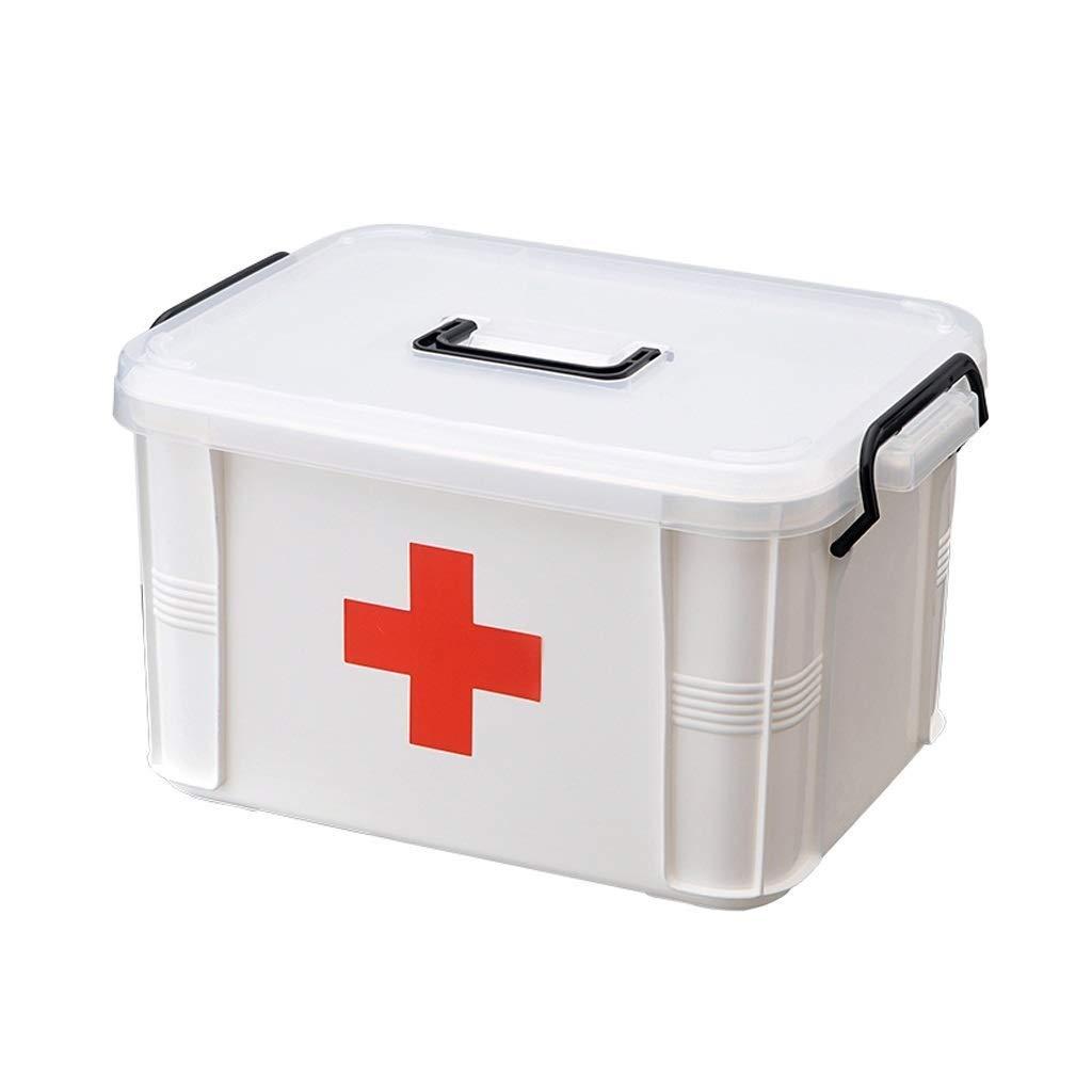 HEMFV 応急処置キットクリアコンテナビン/ファミリー緊急キット収納ボックス(取り外し可能トレイ付き)(色:ホワイト) (Size : 335MM) 335MM  B07T91BT29