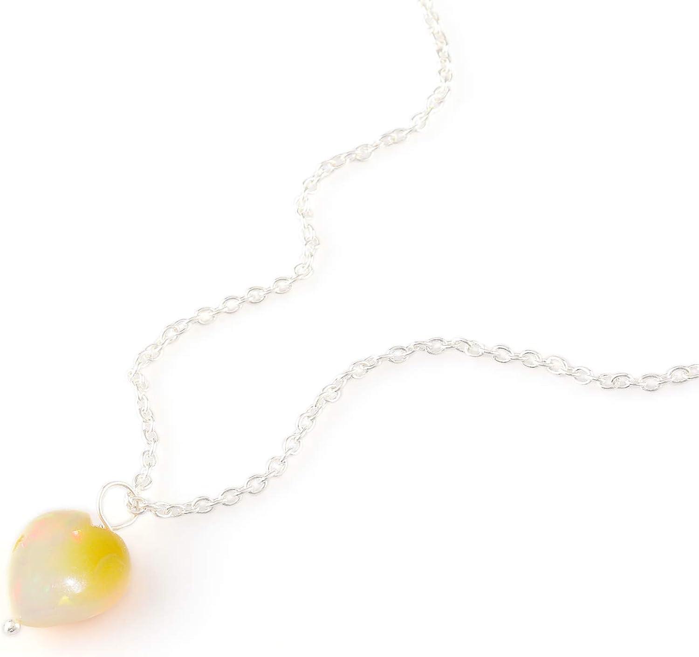 OOAK by Virat Colgante delicado con corazón de piedras preciosas de ópalo de miel en cadena de plata de ley 925 de 18 pulgadas, joyería de ópalo natural, piedra de nacimiento de octubre,