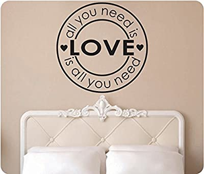 """24"""" All You Need Is Love Beatles Hearts Wall Decal Sticker Art Mural Home Décor Quote"""