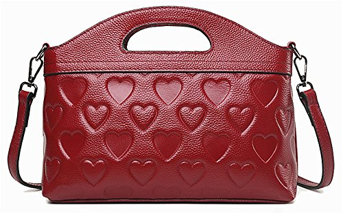 Bolsos de señora Xinmaoyuan señoras bolso bolsos de cuero del hombro Bolso trenzado Cowboy Bolso Messenger Vino rojo