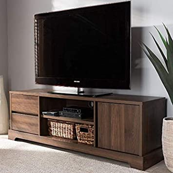 42 inch TV Stand Walnut With Metal Accent Open Storage Shelves Easy To Assemble