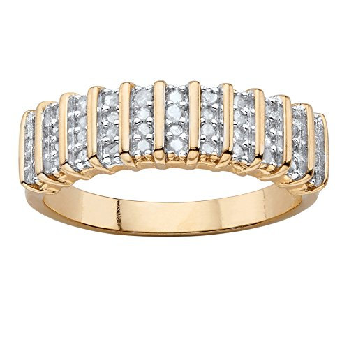 Round White Diamond 18k Yellow Gold-Plated Bar-Link Ring (IJ Color, I2-I3 Clarity) Size (3 Link Ring)