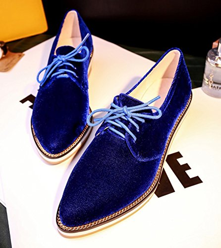 Sfnld Womens Trendy Pointed Toe Low Cut Stacked Heel Lace Up Retro Loafers Shoes Blue uCfeC