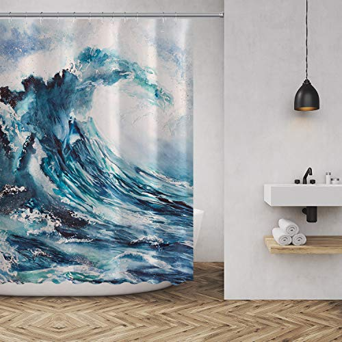 Shower Curtain Sea Wave Watercolor Painting Print Fabric Bathroom Decor