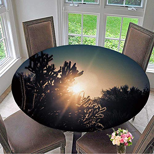 Mikihome Luxury Round Table Cloth for Home use Sunrise Over The Desert Scottsdale,Arizona,USA for Buffet Table, Holiday Dinner 31.5