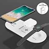 WORDIMA Airpower Wireless Charger Pad 3in1 Multiple Devices Fast Charging Station 7.5W Compatible with Apple Watch Series 1 2 3 4 Only Airpods2 /iPhone X Xs Max Xr 8 8P Wireless Charger Pad