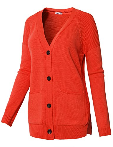 H2H Womens Classic Chunky Cable Knitted Button Cardigan US Size 6-24 Grenadine US S/Asia S (KWOCAL072) (Twin Cashmere Cotton Set)