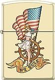 Zippo Pinup Nautical Flag Cream Matte Windproof Pocket Lighter