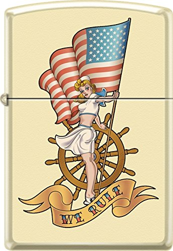 Zippo Pinup Nautical Flag Cream Matte Windproof Pocket (Cream Flag)