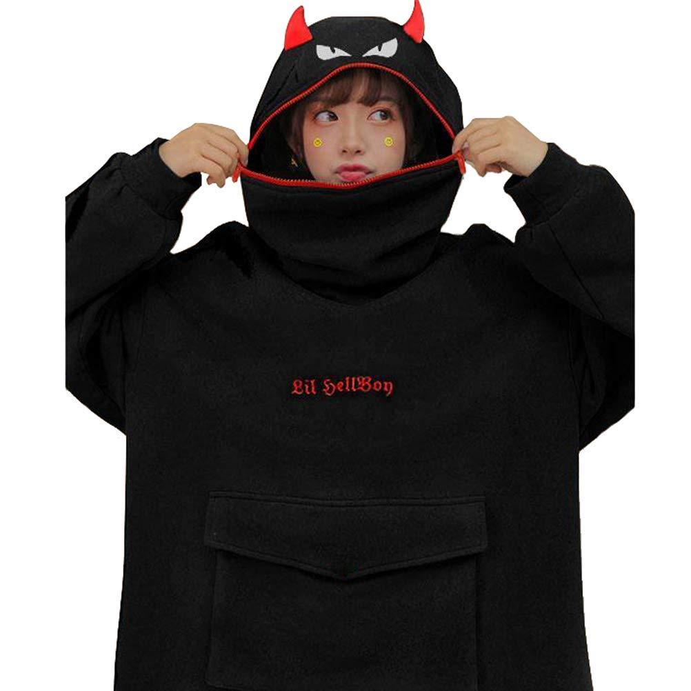 Women Devil Wing Hooded Sweatshirt Casual Loose Long Sleeve Hoodies Pullover Tops