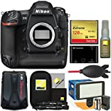 Nikon D5 Digital SLR Camera Body (Dual CF Slots) 128GB Card + Reader + Video Light Set + GPS Adapter + Kit