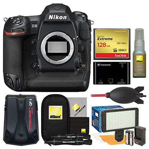 Nikon D5 Digital SLR Camera Body (Dual CF Slots) with 128GB Card + Reader + Video Light Set + GPS Adapter + Kit