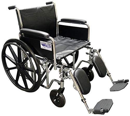 Alco-22-Heavy-Duty-Chrome-Wheelchair-500-lb-Weight-Capacity-with-Removable-Full-Arms-Elevating-Legrests-and-Black-Vinyl-Upholstery