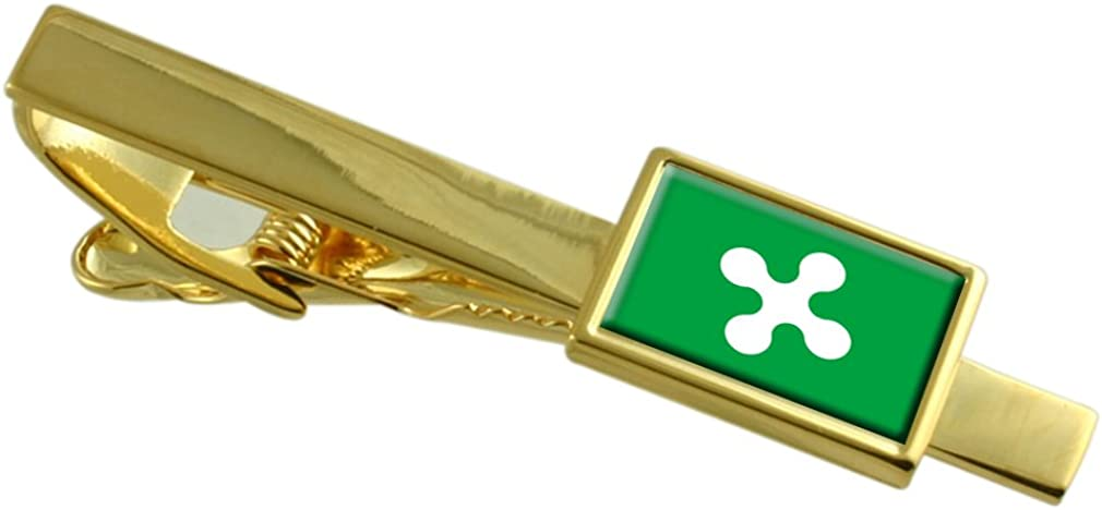 Select Gifts Lombardy Region Italy Flag Gold-Tone Tie Clip Engraved Personalised