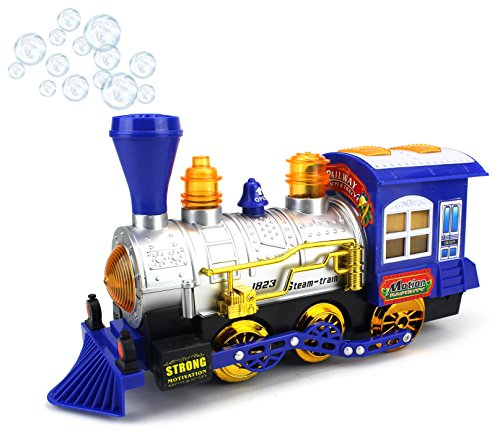 Blue Steam Train Locomotive Engine Car Bubble Blowing Bump & Go Battery Operated Toy Train w/ Lights & Sounds (Blue) - Old Steam Locomotives