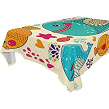 Yuihome Single Face Fish Polyester Tablecloths 60 x 120 Inches Rectangle & Oblong Whale Table Top Decoration