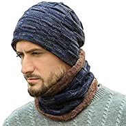 Winter Beanie Hats Scarf Set 2 Pieces Men Warm Knit Hats Skull Cap Neck Warmer