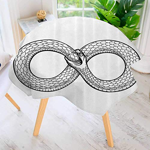 CANCAKA Circular Solid Polyester Tablecloth-Snake Curled in Infinity Ring Middle Age Masic Symbol Sketch for Wedding Restaurant Buffet Table Decoration 50