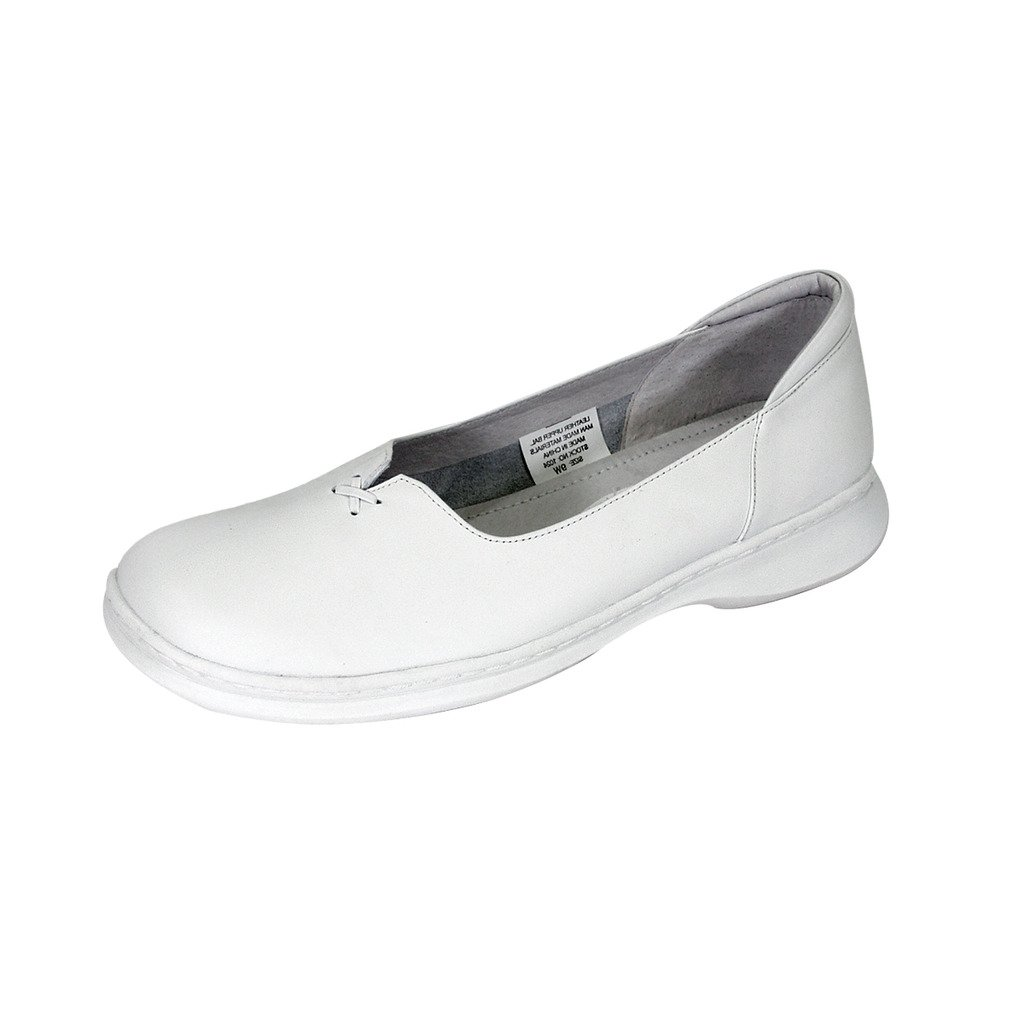 24 Hour Comfort  Kallie (1024) Women Wide Width Comfort Slip-On Shoes White 10 by 24 Hour Comfort