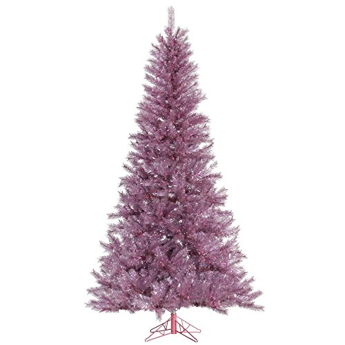 Vickerman Unlit Orchid Pink Tinsel Artificial Christmas Tree, 4.5' x 27