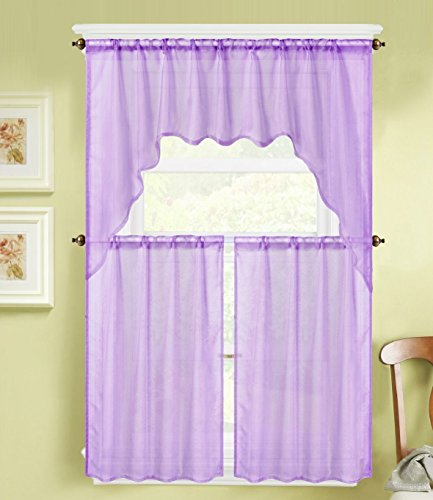 GorgeousHomeLinen (K66) 3 PC Lilac Voile Rod Pocket Window Kitchen Sheer Curtain Set 2 Tier Panels & 1 Swag Valance, Various Solid Colors