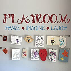 Playroom Share Imaging Laugh Custom Playroom Wall Decor Nursery Wall Sticker Mural Vinyl Wall Sticker For Kids Children A(X-Large,Playroom,Stars:Dark Red;Other Words:Medium Blue)