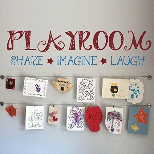 Playroom Share Imaging Laugh Custom Playroom Wall Decor Nursery Wall Sticker Mural Vinyl Wall Sticker For Kids Children A(X-Large,Playroom,Stars:Dark Red;Other Words:Medium Blue)