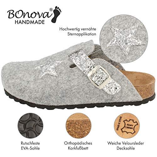 Glitter Para Grey silver Zuecos Bonova Mujer 4pq5Z