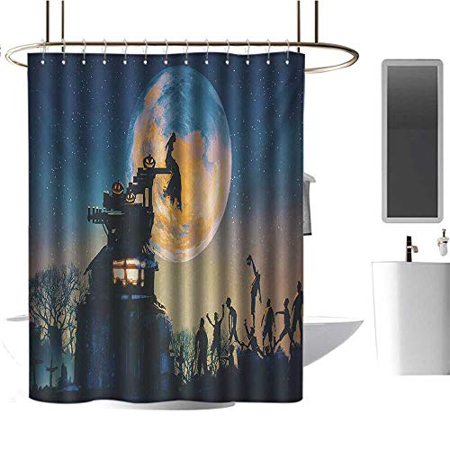 Hotel Grade Shower Curtain Fantasy World,Dead Queen in Castle Zombies in Cemetery Love Affair Bridal Halloween Theme,Blue Yellow,Waterproof Washable Bathroom Curtain 54