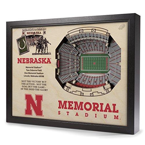 Cornhuskers Framed Nebraska (YouTheFan NCAA Nebraska Cornhuskers 25-Layer StadiumView 3D Wall Art)
