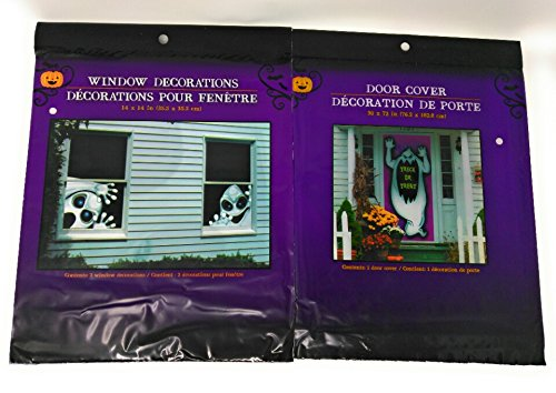Halloween Creepy Spooky Stickers Decor Home Gel Clings Decorations Haunted House Window & Door GHOST White Bundle of 2 (Printable Halloween Spooky Tree)