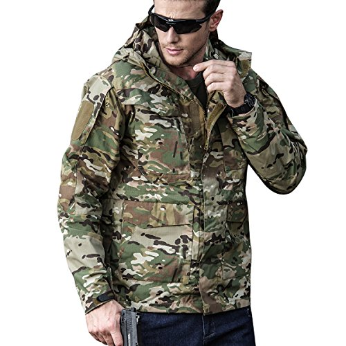 Men Outdoor Jacket Casual Tactical Waterproof Army Military Windbreaker Spring Rain Coat (L, Cp-Camouflage)