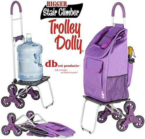 dbest products Stair Climber Bigger Trolley Dolly, Purple Grocery Shopping  Foldable Cart Condo Apartment