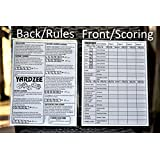"YARDZEE SCORE CARD with Rules on the back- Laminated Yardzee Score Card, Reusable Score Card, Size- 8.5"" x 11"""