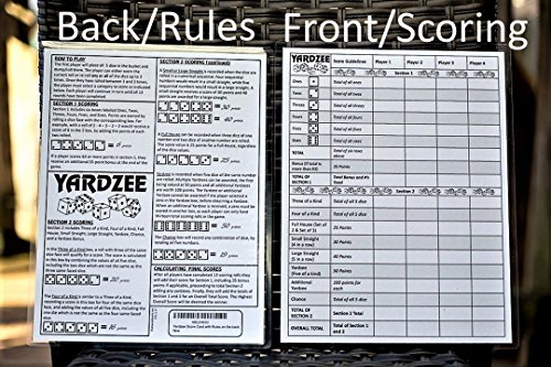 picture regarding Yardzee Score Card Printable identify YARDZEE Rating CARD with Guidelines upon the back again- Laminated Yardzee