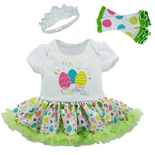 [AISHIONY Baby Girl 1st Easter Egg Outfit Newborn Princess Party Dress 4PCS S] (Baby Easter Dresses)