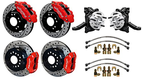 "NEW WILWOOD FRONT & REAR DISC BRAKE KIT WITH 2 1/2"" DROP SPINDLES & LINES, 12.19"" DRILLED ROTORS, RED 4 PISTON CALIPERS, PARKING BRAKE ASSEMBLIES 71-87 CHEVY C10 GMC C15 C1500 2WD TRUCKS SUBURBANS -  Southwest Speed, 140-15302_10094-DR_14202"